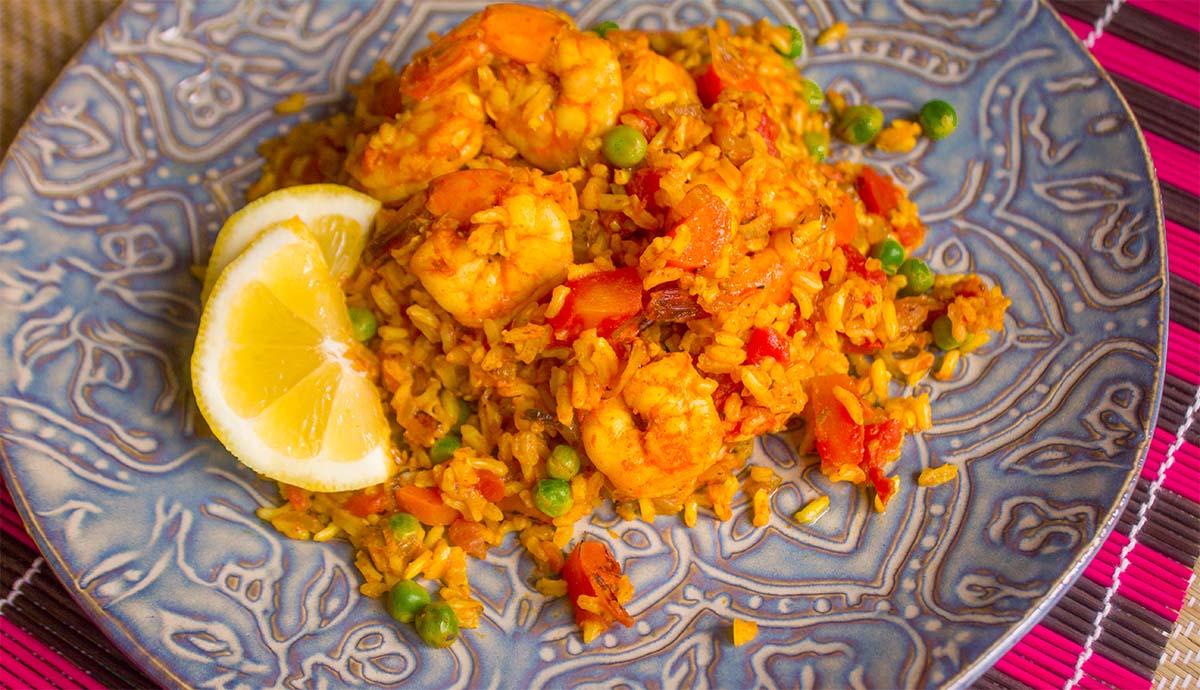 shrimp paella - wide