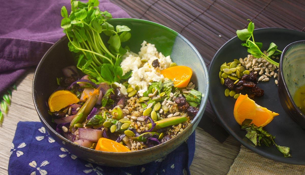 quinoa chayote citrus bowl - wide