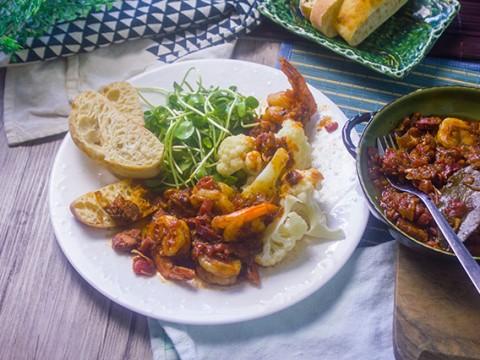 Garlicky Shrimp Chorizo